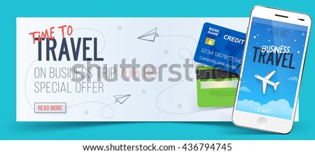 Special offer on business Travel. Business trip banner. Smartphone and credit cards. Air travel concept. Business travel illustration. 70% off. - stock vector
