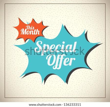 Special offer over vintage background vector illustration - stock vector