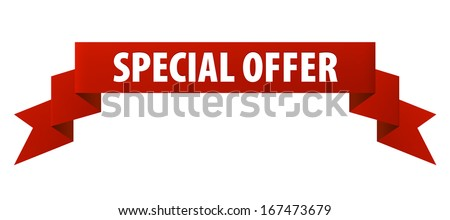 Special offer red ribbon banner icon isolated on white background. Vector illustration - stock vector