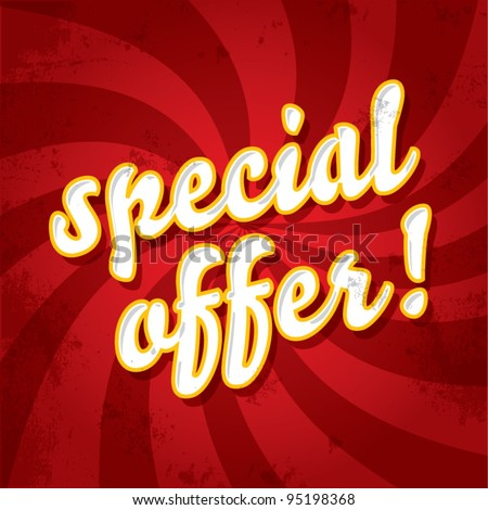 Special offer stamp on a dynamic background, new product offer concept, vector illustration