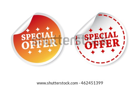 Special offer stickers. Vector illustration on white background.