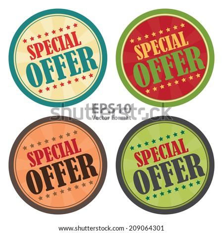 Special Offer Vintage Badge, Icon , Sticker Isolated on White, Vector Format - stock vector