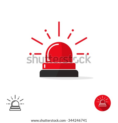 Special police flasher light emergency department ambulance accident tow snow removal logo sign symbol. Police red flasher siren sign flat style icon with scatter lined rays. Outline and round icons - stock vector