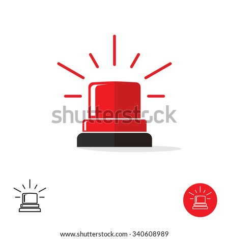 Special police flasher light emergency department ambulance accident tow snow removal logo symbol. Police red flasher siren sign flat style icon with scatter lined rays. Outline and round icons. - stock vector