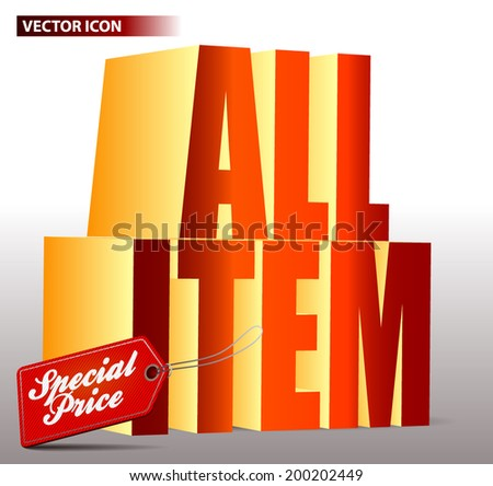 SPECIAL PRICE ALL ITEM POSTER - stock vector