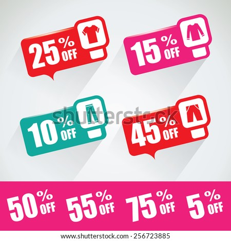 Special price and discount bubble set with different cloth icons - stock vector