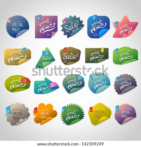 Special Price Stickers Set - Isolated On Gray Background - Vector Illustration, Graphic Design Editable For Your Design - stock vector