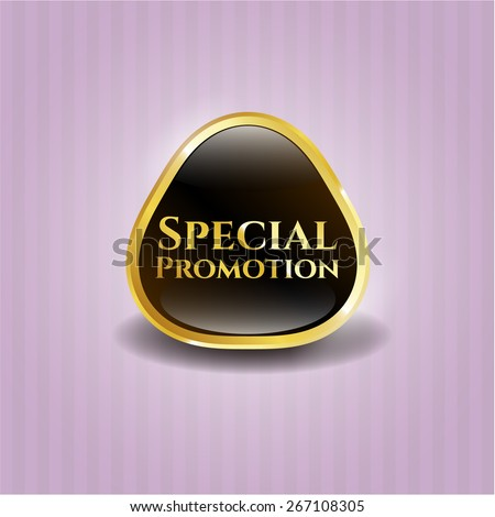 Special promotion gold badge - stock vector