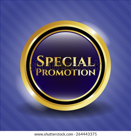 "Special promotion gold shiny badge. Golden emblem with text ""Special promotion"" inside - stock vector"