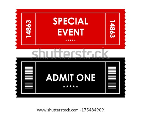 special red-black event ticket - stock vector