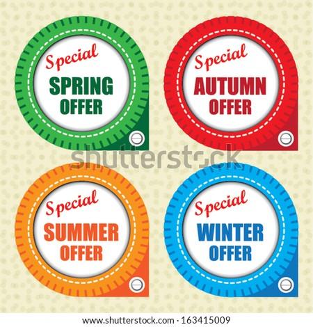Special spring offer, autumn offer, summer offer, winter offer label. Vector. - stock vector