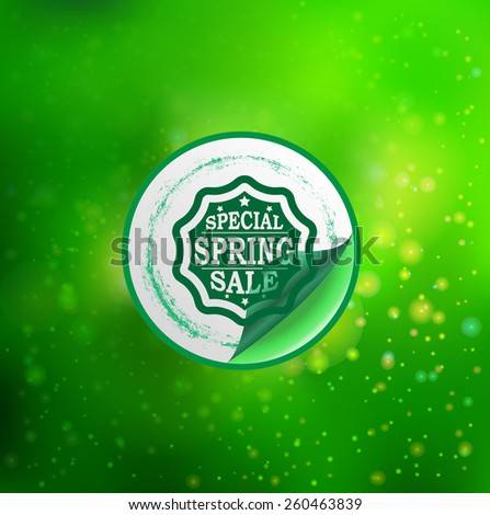 Special Spring Sale Typography Sticker, Tag , Banner or Tag on Green Background . Vector Illustration . - stock vector