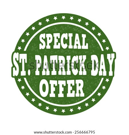 Special St. Patrick's Day offer grunge rubber stamp on white background, vector illustration - stock vector