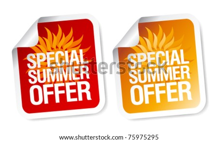 Special summer offer stickers. - stock vector