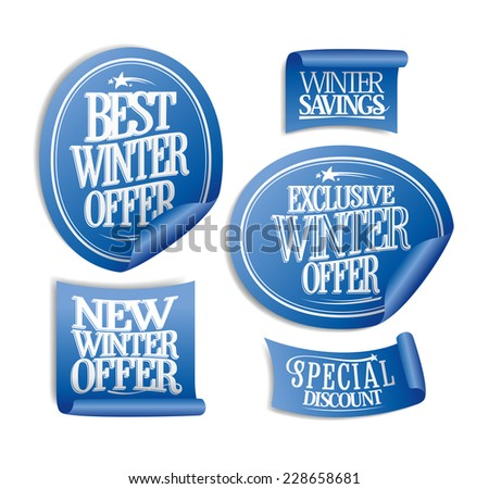 Special winter offers stickers set. - stock vector
