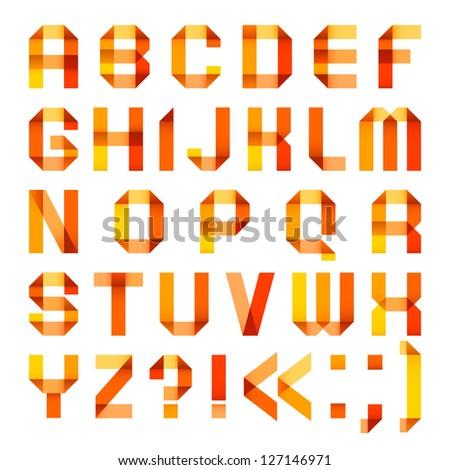 Spectral letters folded of paper ribbon-orange - Roman alphabet (A, B, C, D, E, F, G, H, I, J, K, L, M, N, O, P, Q, R, S, T, U, V, W, X, Y, Z) - stock vector