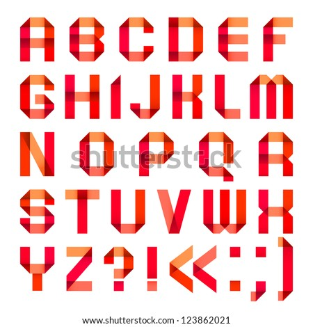 Spectral letters folded of paper ribbon-red. Roman alphabet (A, B, C, D, E, F, G, H, I, J, K, L, M, N, O, P, Q, R, S, T, U, V, W, X, Y, Z). - stock vector
