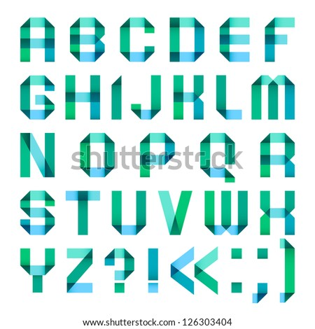Spectral letters folded of paper ribbon-turquoise - Roman alphabet (A, B, C, D, E, F, G, H, I, J, K, L, M, N, O, P, Q, R, S, T, U, V, W, X, Y, Z)