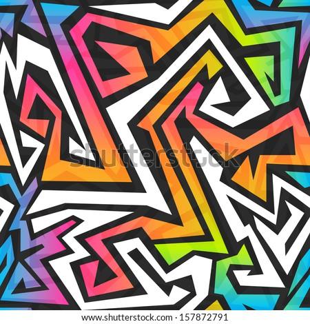 spectrum color graffiti seamless pattern - stock vector