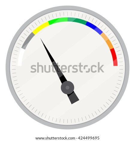 Spectrum indicator device. Index and pointer, arrow indicator, measure control technology, measurement spectrum and power panel device. Vector flat design illustration - stock vector