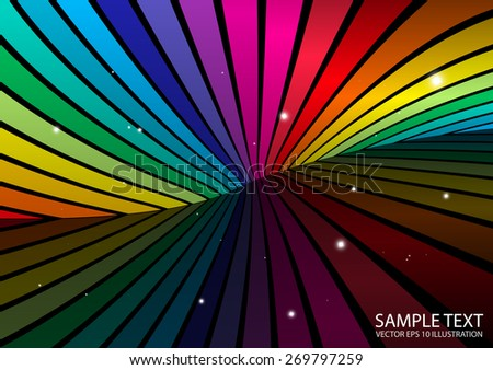 Spectrum rainbow vector colorful background illustration - Vector striped template and glitters background illustration - stock vector
