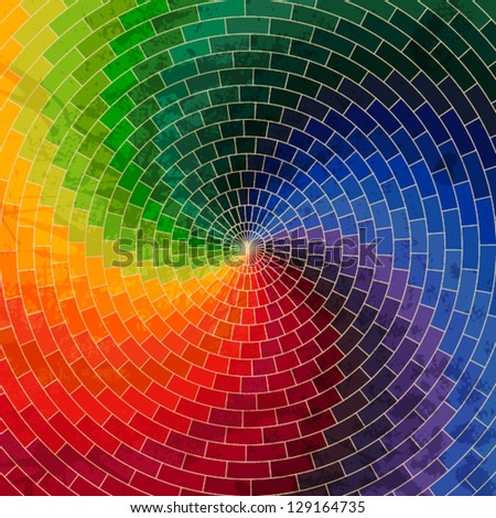 Spectrum wheel made of bricks. Rainbow color spectrum grunge background. Square composition with geometric color flow effect. - stock vector