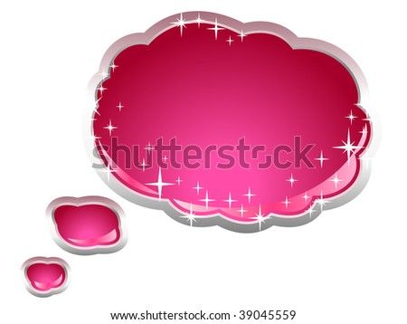 Speech And Thought Bubble With Stars - stock vector