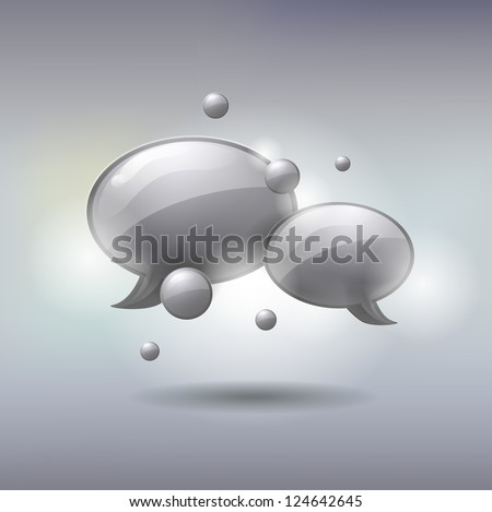 Speech and Thought Bubbles icon, social media concept, vector illustration - stock vector