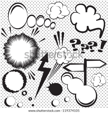 Speech and thought bubbles vector set. Comic style speech bubbles collection. Funny design vector items illustration - stock vector
