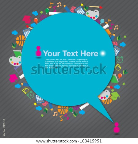 speech background with education icons on gray background, vector format - stock vector