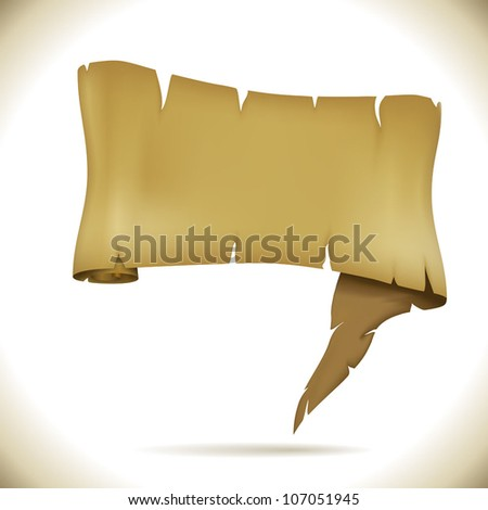 Speech balloon in the form of ancient scroll vector illustration. - stock vector