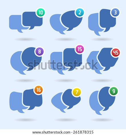 Speech balloons, social media conversation and networking NEW MESSAGES - stock vector