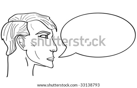Speech Bubble. A talking Person. Vector graphic.