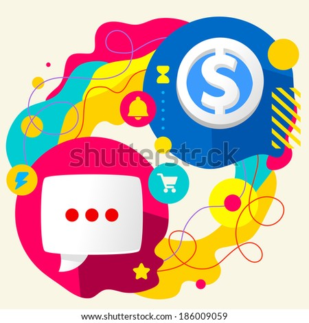 Speech bubble and dollar sign on abstract colorful splashes background with different icon and elements. Price, buy and sell. Flat design - stock vector
