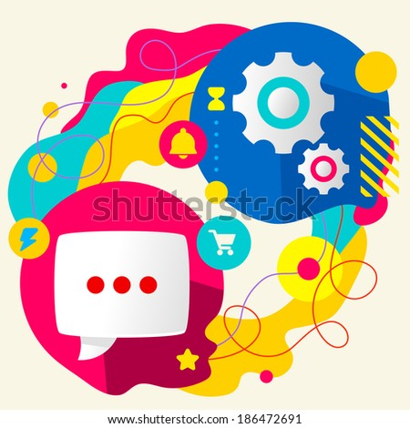 Speech bubble and gears on abstract colorful splashes background with different icon and elements. Internal mechanism, structure and operating principles. Flat  design for the web, banner, advertising - stock vector