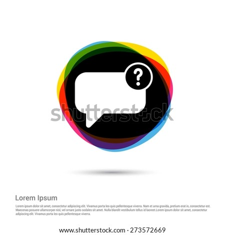 speech bubble and question mark, question and answer Chat icon, circle creative Multicolor background. Vector illustration. Flat design style. Flat icon, green, red, yellow, black beautiful background - stock vector
