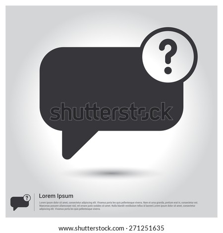 speech bubble and question mark, question and answer Chat icon pictogram icon on gray background. Vector illustration for web site, mobile application. Simple flat metro design style. Outline Icon - stock vector