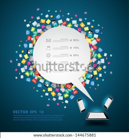 Speech bubble background with cloud of colorful application icon, Business software and social media networking service idea concept, Vector illustration modern template design - stock vector