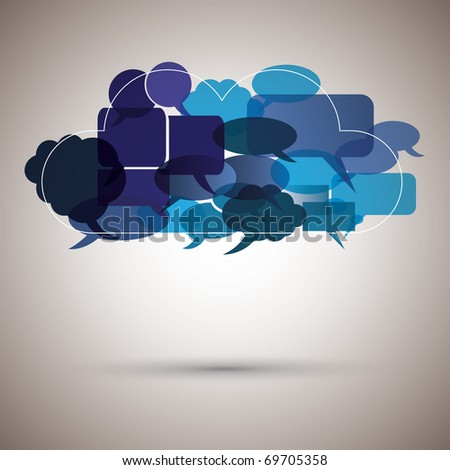 Speech bubble cloud made from small bubbles - stock vector