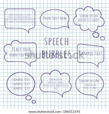 Speech bubble collection. Set of hand-drawn speech and thought bubbles with sample text isolated on squared notebook paper background. Vector illustration.  - stock vector