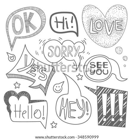 Speech bubble collection. Set of  hand-drawn speech and thought bubbles with sample text. Vector illustration Collection. - stock vector