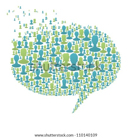 Speech bubble, composed from many people silhouettes. Social network concept, vector, EPS8 - stock vector