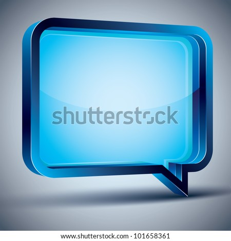 Speech bubble 3d modern style, vector design element. Contain transparent shadow ready to put over any background. - stock vector