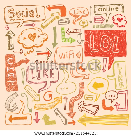 Speech Bubble doodle set. Hand-drawn vector. - stock vector