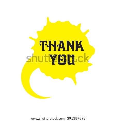 Speech bubble flat icon, Thank You, design in yellow. Textured and painted with watercolor. Balloon made of paint brush and stroke.   - stock vector