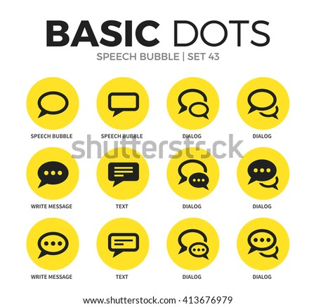Speech bubble flat icons set with dialog, text and write message isolated vector illustration on white - stock vector