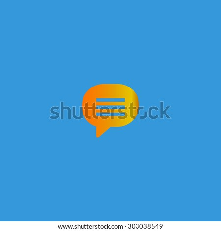 Speech bubble. Flat web icon or sign isolated on grey background. Collection modern trend concept design style vector illustration symbol - stock vector