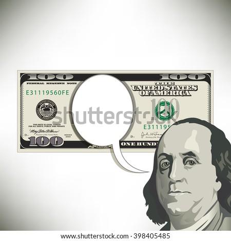 Speech bubble fun with a 100 dollar bill - stock vector