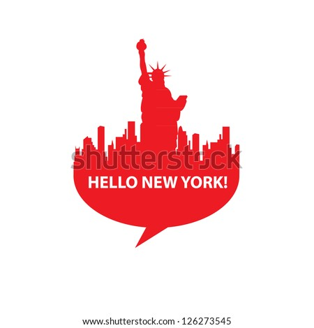 Speech-bubble - Hello New York! vector - stock vector