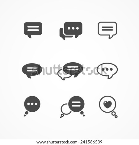 Speech bubble icon set on white background isolated - stock vector